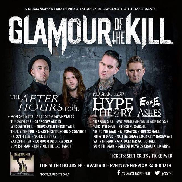 EoFE - Glamour Of The Kill UK tour 2015 Poster