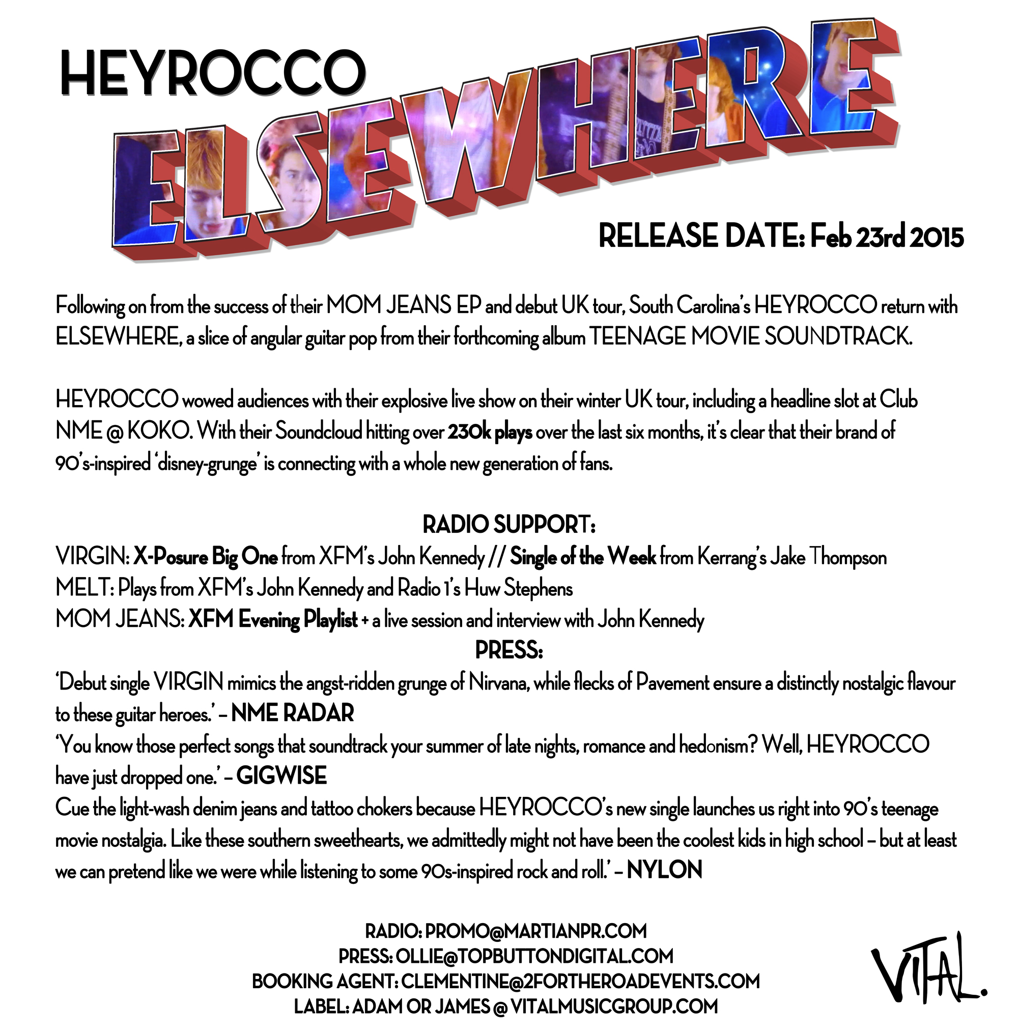 Heyrocco - ELSEWHERE PR Info